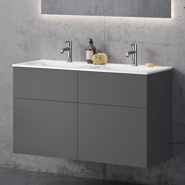 neoro n50 Doppelwaschtisch eckig mit Waschtischunterschrank mit 4 Auszügen Front graphit matt / Korpus graphit matt, WT weiß