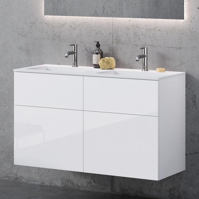 neoro n50 Doppelwaschtisch eckig mit Waschtischunterschrank mit 4 Auszügen Front weiß hochglanz / Korpus weiß hochglanz, WT weiß matt