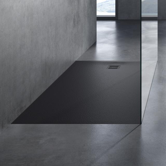 neoro n50 Rechteck-Duschwanne Komplett-Set schwarz struktur, mit rutschhemmender Oberfläche