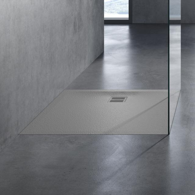 neoro n50 Rechteck-Duschwanne Komplett-Set grau struktur, mit rutschhemmender Oberfläche