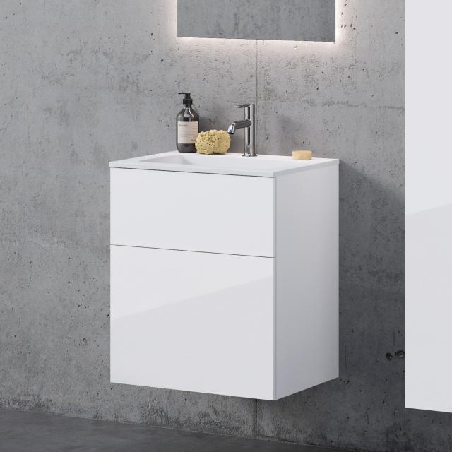 neoro n50 Waschtisch eckig mit Waschtischunterschrank mit 2 Auszügen Front weiß hochglanz / Korpus weiß hochglanz, WT weiß matt