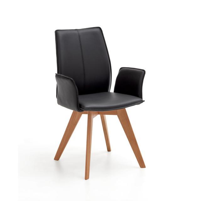 Niehoff AMALFI Stuhl mit Armlehnen und Stativgestell, Echtleder