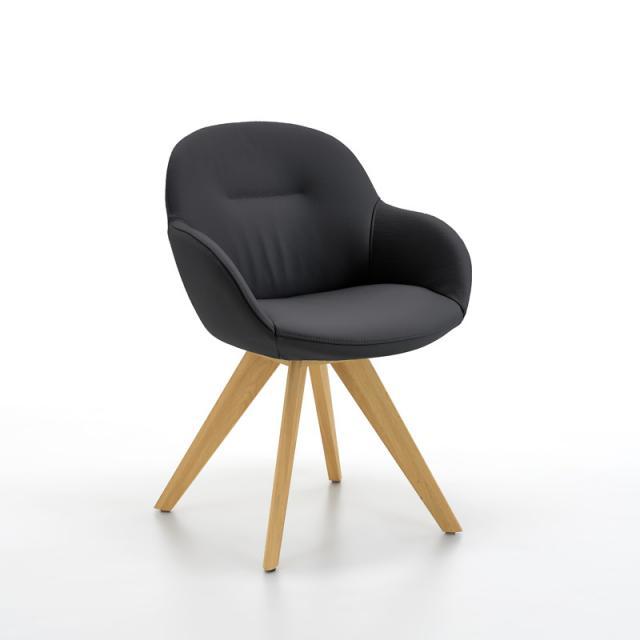 Niehoff PACO Stuhl mit Armlehnen, Massivholz, drehbar