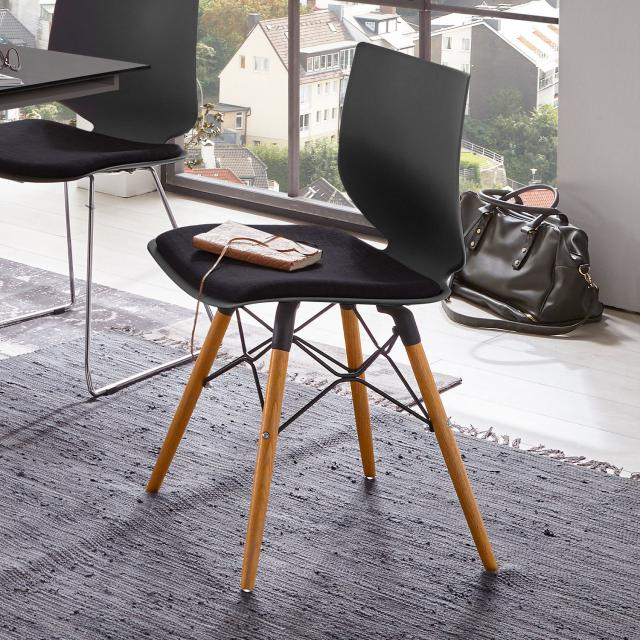 Niehoff TULA Stuhl mit Stativgestell aus Massivholz und Sitzpad