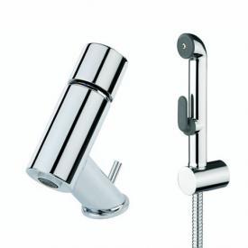 Oras IL BAGNO ALESSI One Waschtisch-Einhand-Einlochbatterie mit Bidetta Handbrause, mit flexiblen Schläuchen mit Ablaufgarnitur