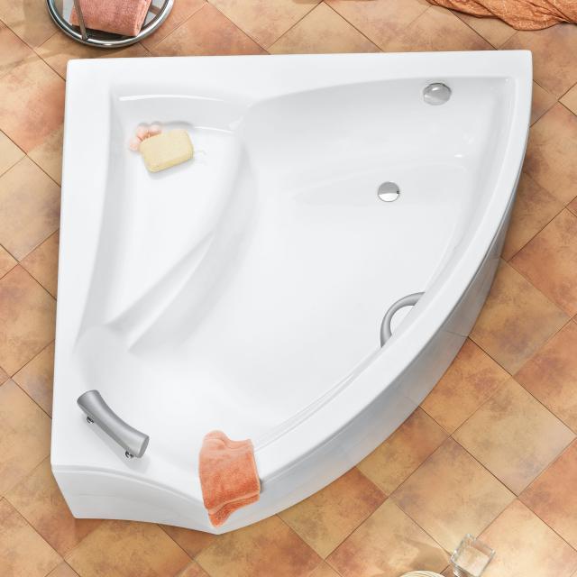 Ottofond Aura Eck-Badewanne, Einbau weiß mit Fußgestell