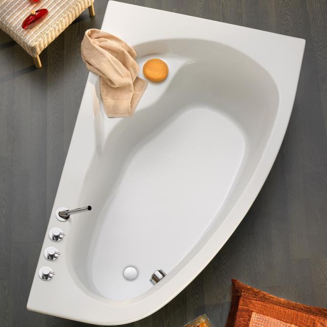 Ottofond Loredana Eck-Badewanne, Einbau weiß mit Fußgestell