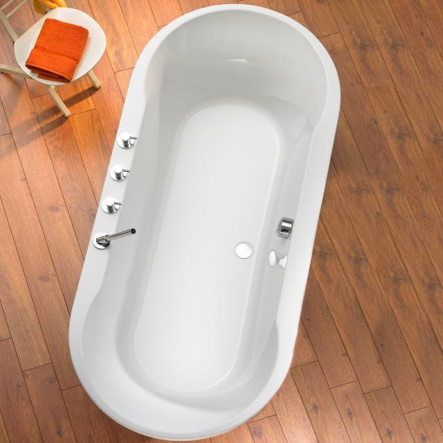 Ottofond Montego Oval-Badewanne, Einbau weiß mit Fußgestell