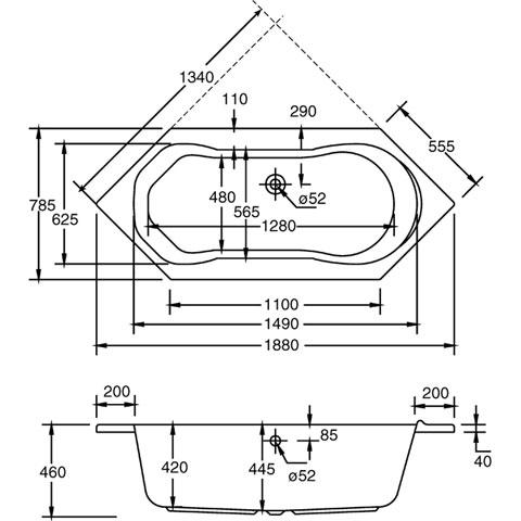 ottofond ravenna sechseck badewanne ohne wannentr ger 926001 reuter. Black Bedroom Furniture Sets. Home Design Ideas