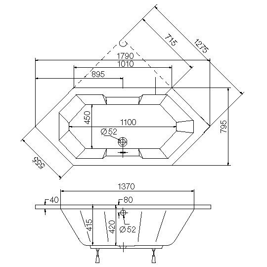 ottofond sierra sechseck badewanne ohne wannentr ger 863401 reuter. Black Bedroom Furniture Sets. Home Design Ideas