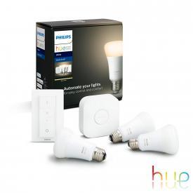 Philips Hue White 3-er Starter Set mit Bridge und Dimmschalter, E27, 9,5 Watt