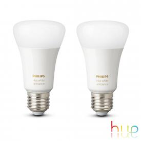 PHILIPS Hue White Ambiance LED E27, 9,5 Watt Doppelpack