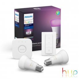 Philips Hue White and Color 2er Starter Set mit Bridge, LED E27, 9,5 Watt