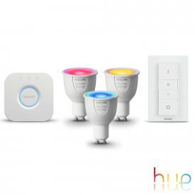 Philips Hue White and Color 3-er Starter Set mit Bridge und Dimmschalter, GU10, 6,5 Watt