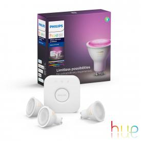 PHILIPS Hue White and Color 3er Starter Set mit Bridge, LED GU10, 5,7 Watt