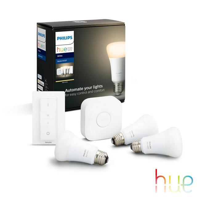 PHILIPS Hue White 3er Starter Set mit Bridge und Dimmschalter, LED E27, 9,5 Watt
