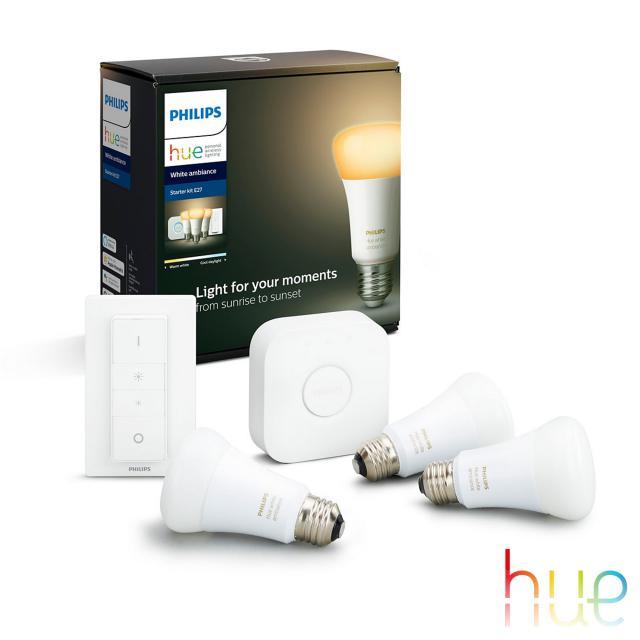 PHILIPS Hue White Ambiance 3er Starter Set mit Bridge und Dimmschalter, LED E27, 9,5 Watt