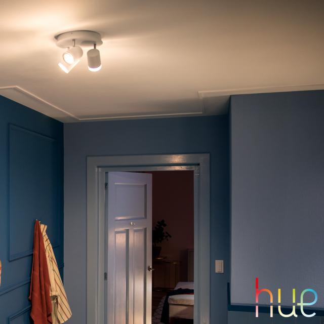 PHILIPS Hue White ambiance Adore LED Deckenleuchte/Spot mit Dimmer, 3-flg, rund