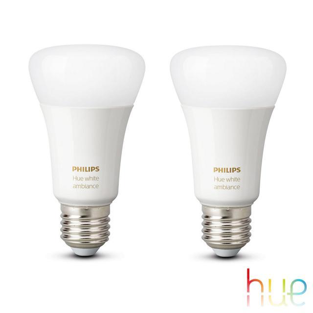 PHILIPS Hue White Ambiance LED E27, 9,5 Watt Doppelpack