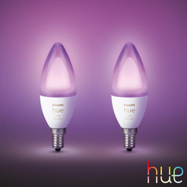 PHILIPS Hue White and Color Ambiance LED E14, 5,3 Watt Doppelpack