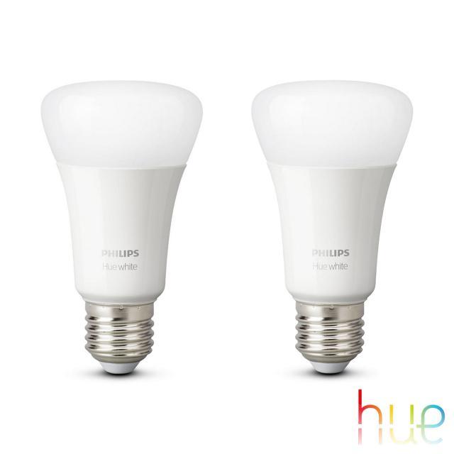 PHILIPS Hue White LED E27, 9,5 Watt Doppelpack