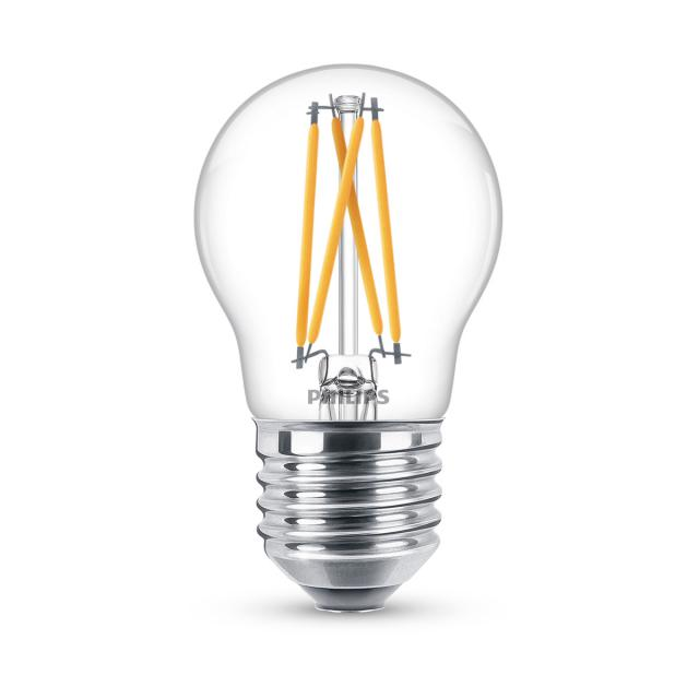 PHILIPS LEDclassic mit WarmGlow P45, E27, dimmbar