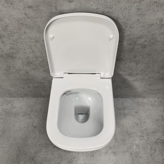 PREMIUM 100 Wand-Tiefspül-WC-SET, spülrandlos, eckig, mit WC-Sitz