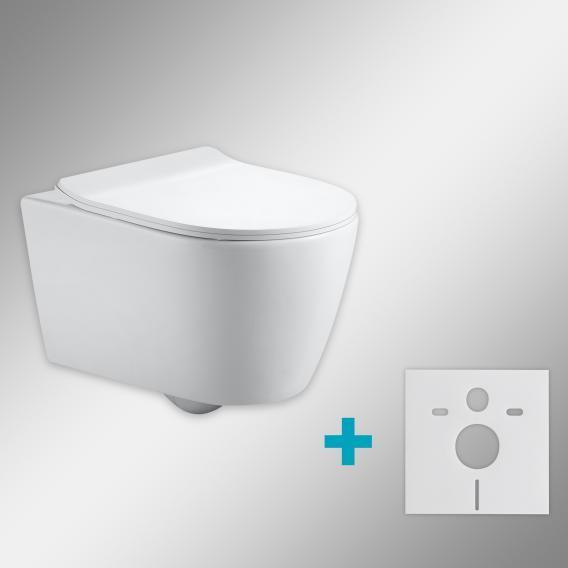 PREMIUM 100 Wand-Tiefspül-WC-SET mit Montagezubehör, spülrandlos, oval, mit slim WC-Sitz