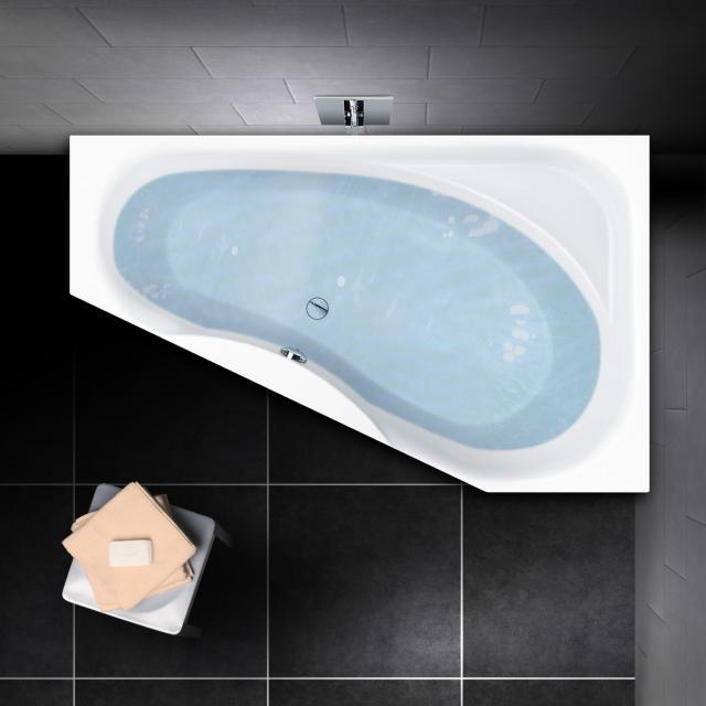 PREMIUM 100 Eck-Badewanne mit Ablagefläche, Einbau Länge: 165 cm, Breite: 95 cm, Innentiefe 46 cm