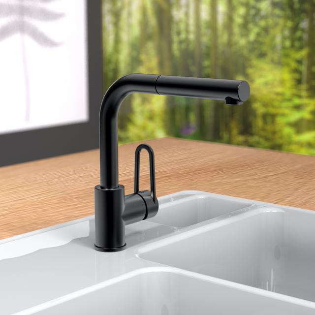 PREMIUM 100 Einhebel-Küchenarmatur mit ausziehbarem Auslauf schwarz matt
