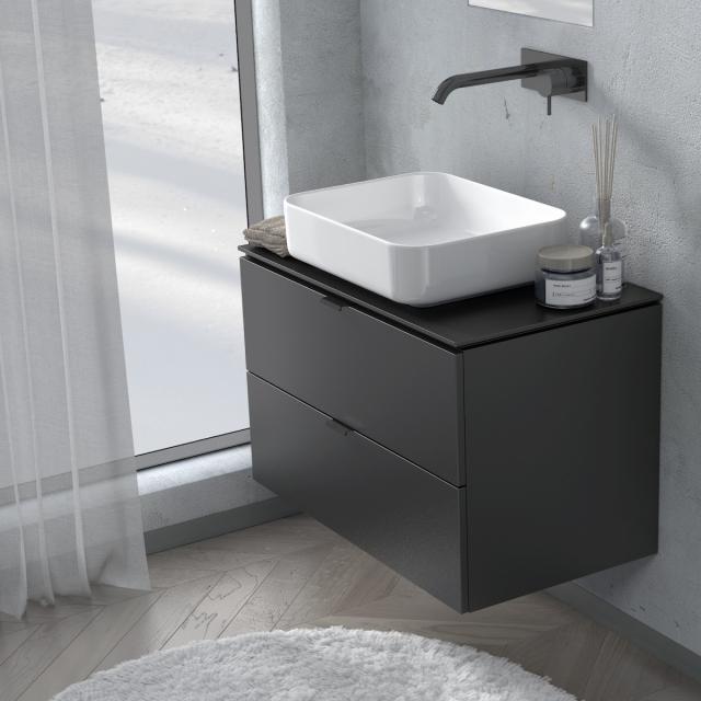 PREMIUM 100 Konsole mit Waschtischunterschrank mit 2 Auszügen Front schwarz seidenmatt / Korpus schwarz seidenmatt, Griff schwarz matt