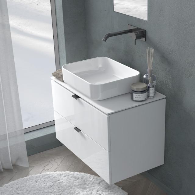 PREMIUM 100 Konsole mit Waschtischunterschrank mit 2 Auszügen Front weiß hochglanz / Korpus weiß hochglanz, Griff schwarz matt