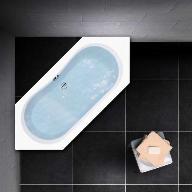 PREMIUM 100 Sechseck-Badewanne, Einbau Länge: 180 cm, Innentiefe 44,5 cm, Breite: 80 cm, Innentiefe 44,5 cm