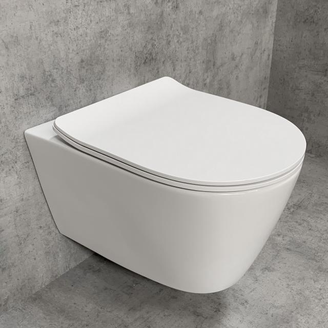 PREMIUM 100 Wand-Tiefspül-WC-SET, spülrandlos, oval, mit slim WC-Sitz