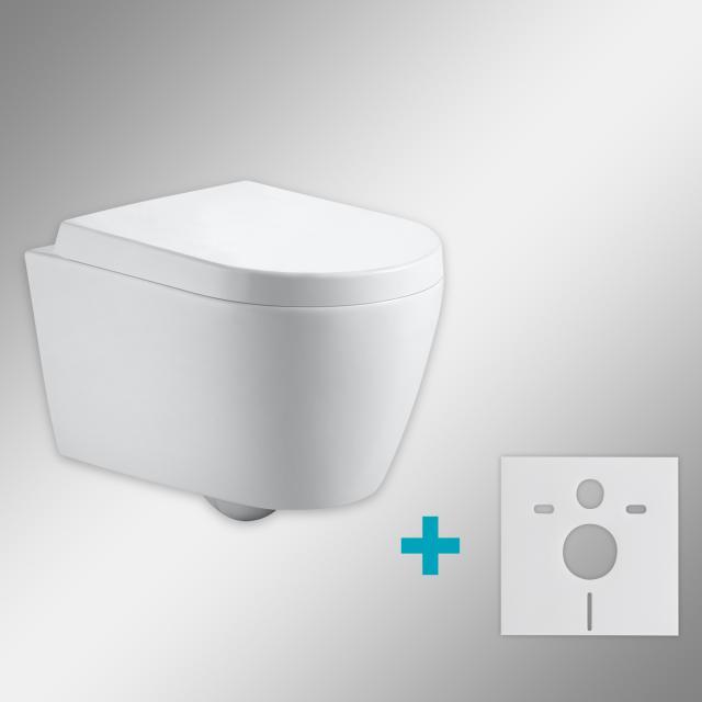 PREMIUM 100 Wand-Tiefspül-WC-SET mit Montagezubehör, spülrandlos, oval, mit WC-Sitz