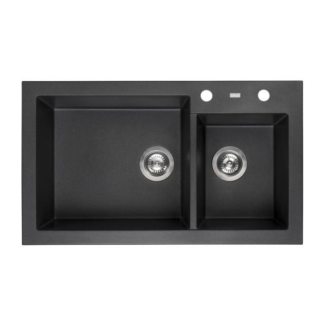 Reginox Amsterdam 25 Küchenspüle mit Restebecken schwarz metallic