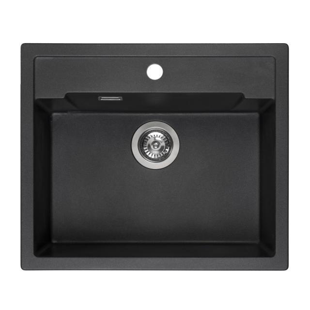Reginox Amsterdam 54 Küchenspüle mit Hahnloch schwarz metallic