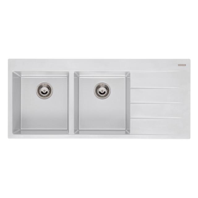 Reginox Breda 30 Küchenspüle mit Doppelbecken und Abtropffläche weiß