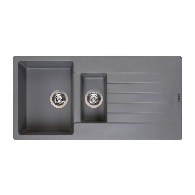 Reginox Harlem 15 Küchenspüle mit Restebecken und Abtropffläche grau metallic