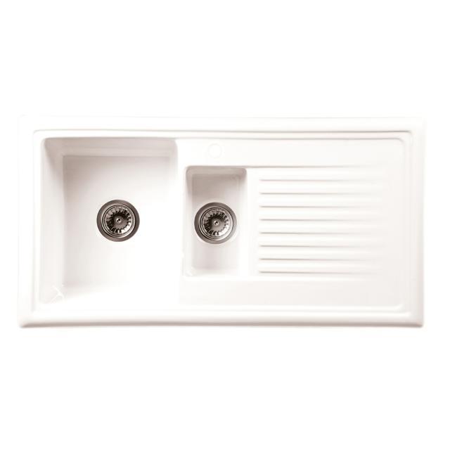 Reginox RL 301 Küchenspüle mit Restebecken und Abtropffläche weiß