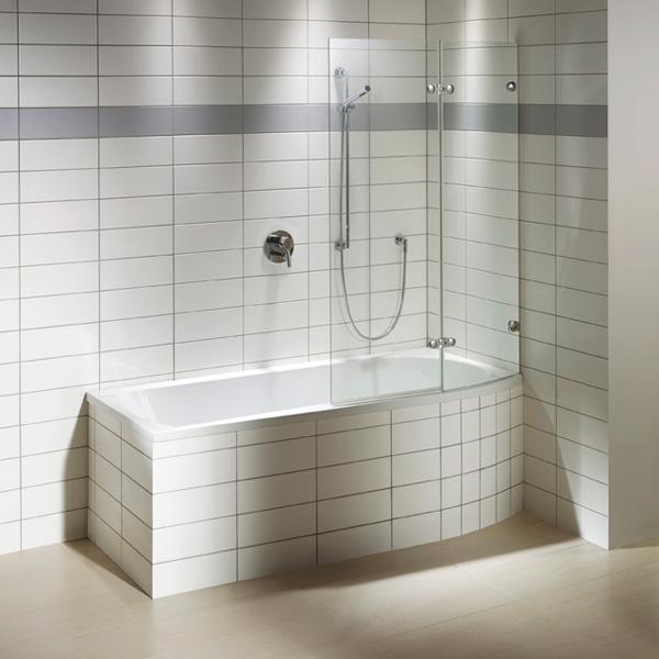 Repabad Arosa Shower Rechteck-Badewanne mit Duschzone, Einbau weiß