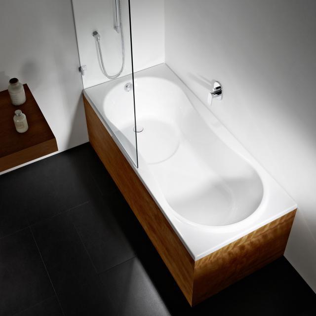 Repabad Dublin Rechteck-Badewanne mit Duschzone weiß, mit RepaGrip