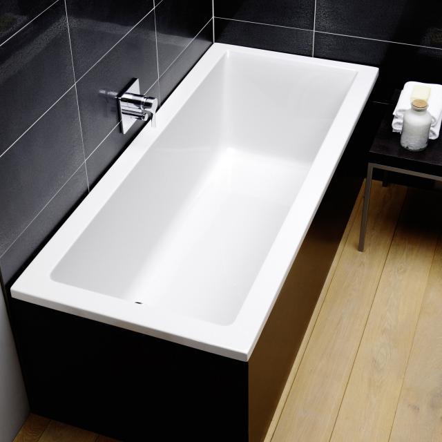 Repabad Genf Mono Rechteck-Badewanne, Einbau weiß, mit RepaGrip