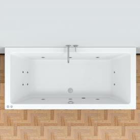 Riho Lusso Easypool Rechteck-Whirlpool mit mechanischer Bedienung Whirlpool, Ab- und Überlaufgarnitur, Fußgestell