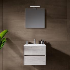 Riho Porto Slim Waschtisch mit Waschtischunterschrank und LED-Spiegel Front eiche grau / Korpus eiche grau