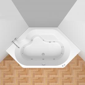 Riho Winnipeg Easypool Sechseck-Whirlpool mit mechanischer Bedienung Whirlpool, Ab- und Überlaufgarnitur, Fußgestell