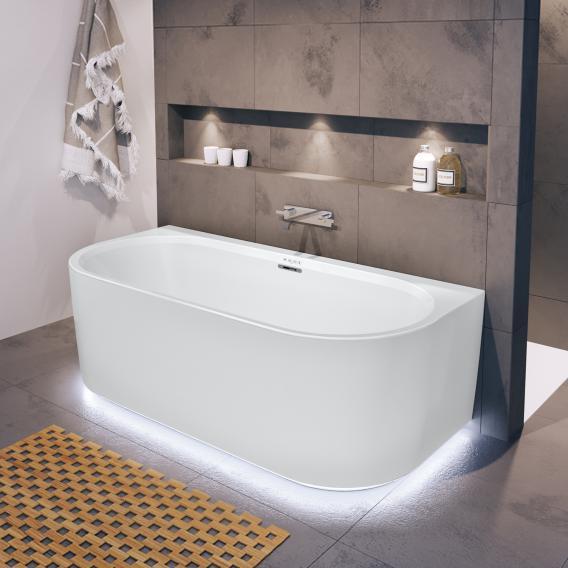 Riho Desire back2wall Vorwand-Whirlwanne mit Verkleidung und LED-Beleuchtung weiß matt, ohne Füllfunktion