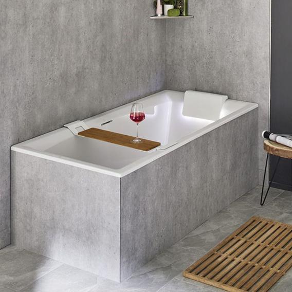 Riho Still Square Rechteck-Badewanne mit Kopfstütze und LED-Beleuchtung, Einbau mit Füllfunktion