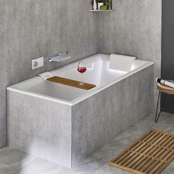 Riho Still Square Rechteck-Badewanne mit LED-Beleuchtung und Kopfstütze ohne Füllfunktion, Kopfstütze rechts
