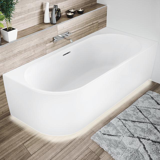 Riho Desire Corner Eck-Badewanne mit Verkleidung und LED-Beleuchtung weiß matt, ohne Füllfunktion
